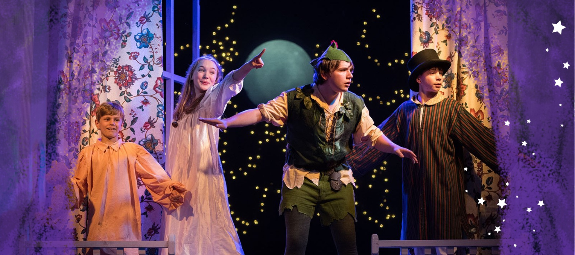 "Actors in the play ""Peter Pan"" during a performance"